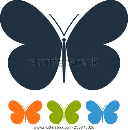 Butterfly wings isolated vector icon logo  - stock vector