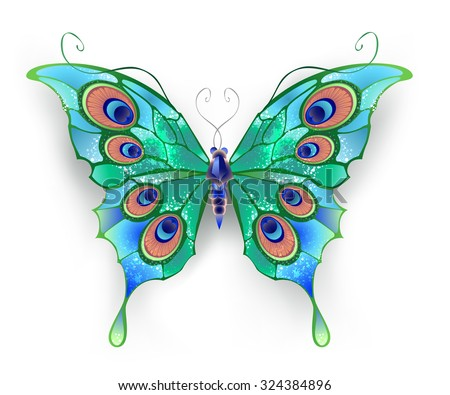 butterfly with green wings, decorated with blue circles on a White background.