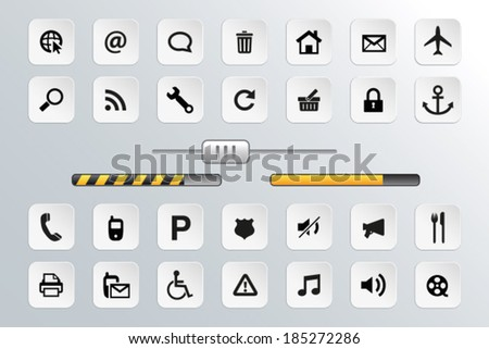 Button and Icon Set for Web - stock vector
