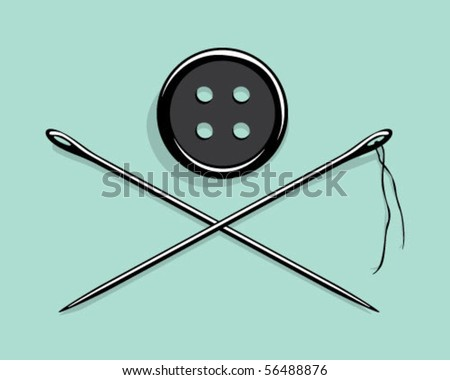 button and needles. - stock vector