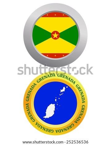 button as a symbol GRENADA flag and map on a white background  - stock vector