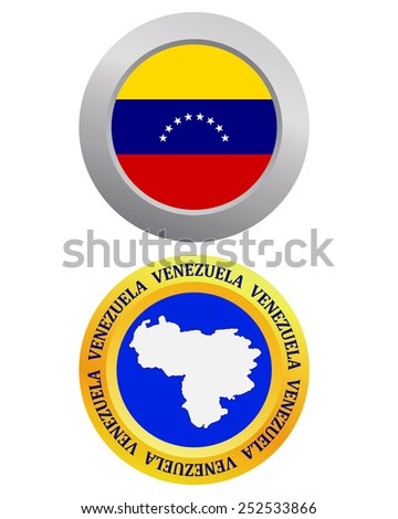 button as a symbol VENEZUELA flag and map on a white background  - stock vector