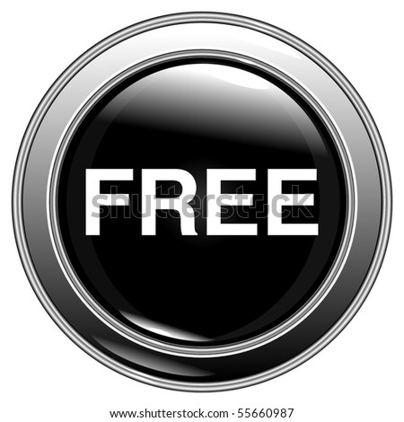"button black ""free"" on a white background vector eps10 - stock vector"