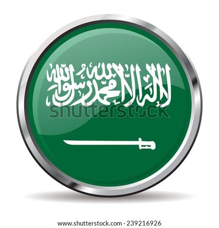 button Flag of Saudi Arabia - stock vector