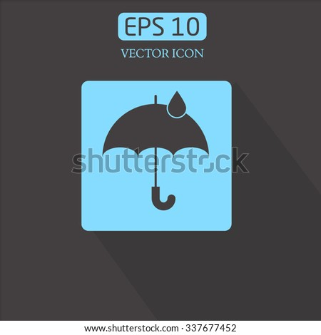 button, long shadowsbag.Umbrella with drop vector icon. Rain protection symbol.
