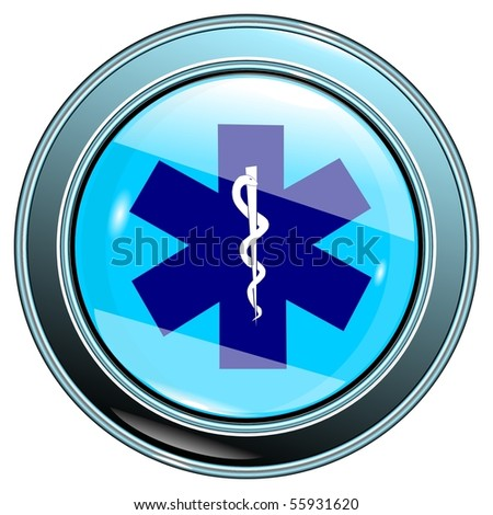 Button medical sign blue isolated on the white background vector eps10 - stock vector