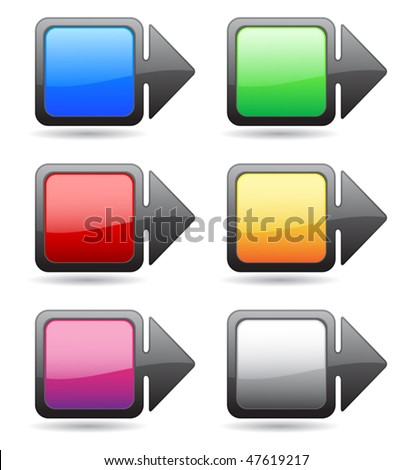 Button-pointer of the square shape and different colors - stock vector