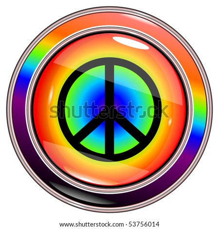 "button ""rainbow"" with sign ""peace"" circle on a white background vector eps10 - stock vector"