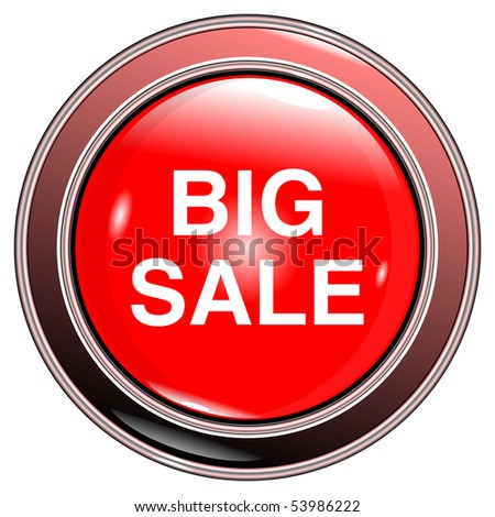 """button red """"big sale"""" isolated on the white background vector eps10 - stock vector"""