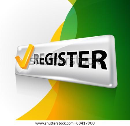Button. Register. - stock vector