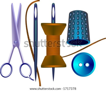 Button, scissors and needle