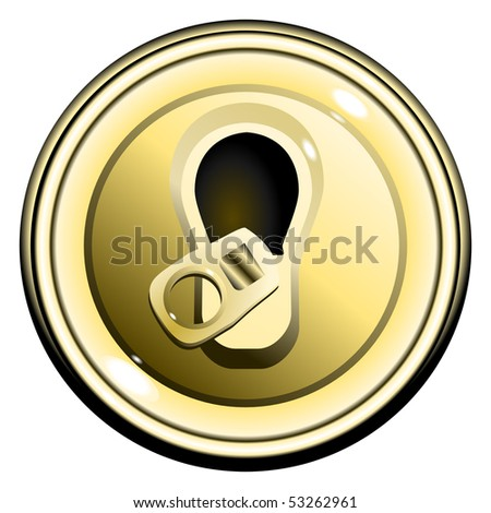 button top opened gold can of beer, on the white background isolated vector eps10 - stock vector