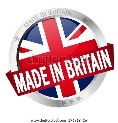 Button with Banner MADE IN BRITAIN - stock vector