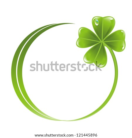 Button with clover leaf icon - stock vector