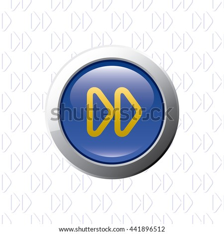 Button with Fast Forward Symbol - Glossy Blue Grey and Orange Elements on Fast Forward Symbol Wallpaper Background - Bevel 3D Realistic Style - stock vector