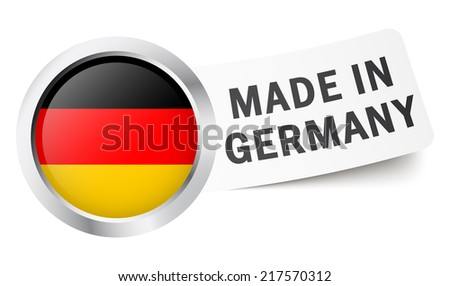 """Button with flag """" MADE IN GERMANY """" - stock vector"""