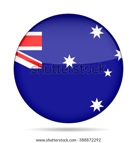 button with national flag of Australia and shadow