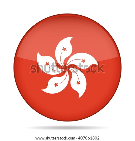 button with national flag of Hong Kong and shadow