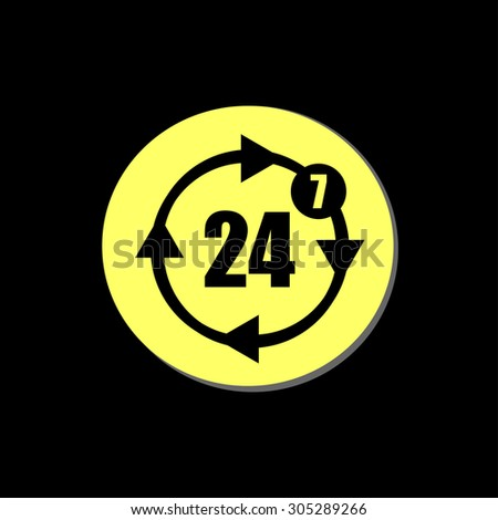 button with twenty four hours by seven days  icon, vector illustration - stock vector