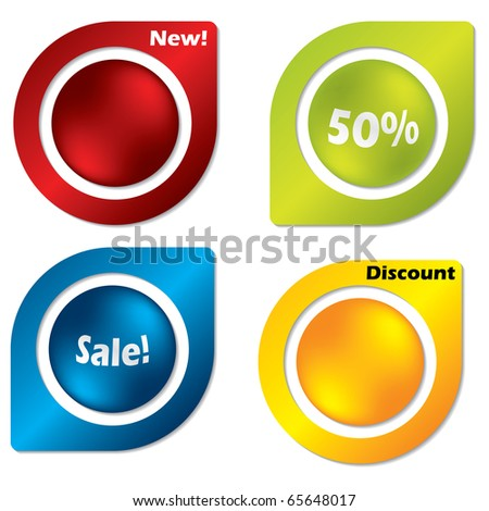 Buttoned labels - stock vector
