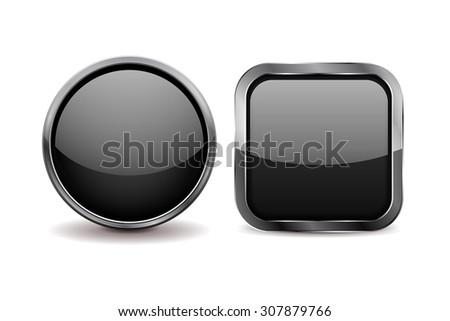 Buttons. Black shiny glass sphere and square button with metal frame. Vector - stock vector