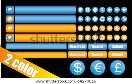 Buttons for site in 2 color schemes - stock vector