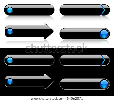 Buttons for web - blue glass - stock vector