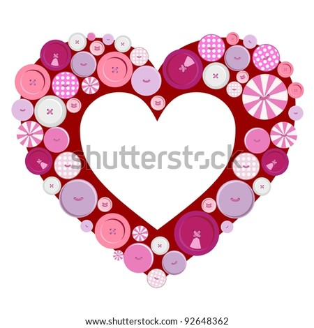 Buttons frame heart for Valentine's Day - stock vector