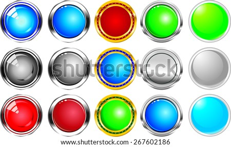 buttons, icons, grey gloss in the vector - stock vector