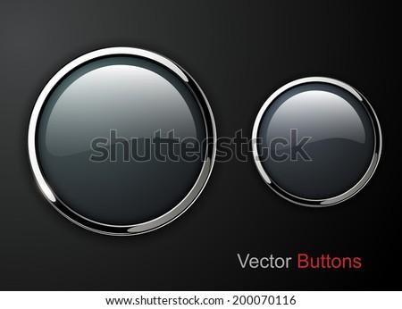 Buttons shiny, chrome metallic, vector illustration - stock vector