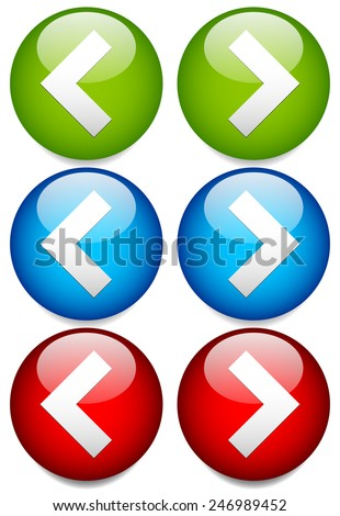 Buttons to Left and Right with Sharp, Angular Arrowheads. Next, Previous, or Backward, Forward buttons - stock vector