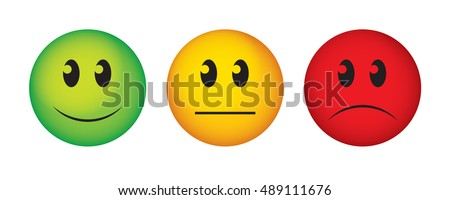 Buttons to vote on survey. Happy, straight face and sad emoticon.