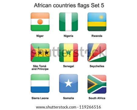 buttons with African countries flags set 5