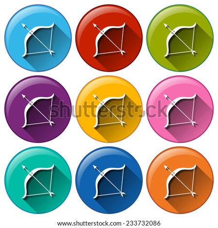 Buttons with bow and arrow on a white background  - stock vector