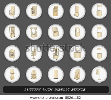 Buttons with display set. Vector illustration - stock vector