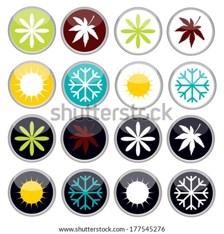 buttons with four seasons icons - stock vector