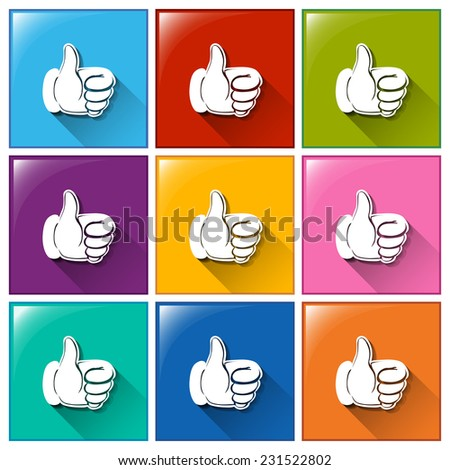 Buttons with hands showing an approve sign on a white background