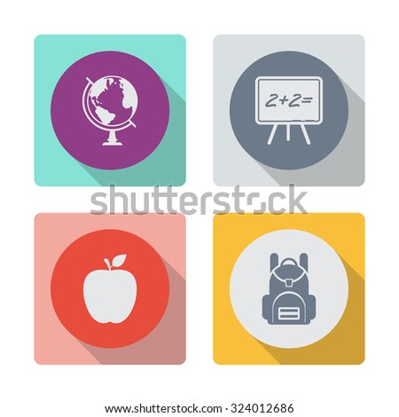 Buttons with shadow. Globe vector icon. Blackboard vector icon. Apple vector icon. School backpack vector icon. - stock vector