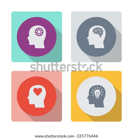 Buttons with shadow. Human profile with mechanism vector icon. Head with brain vector icon. Male human head think symbol. Human profile with heart vector icon. Human profile with bulb vector icon. - stock vector