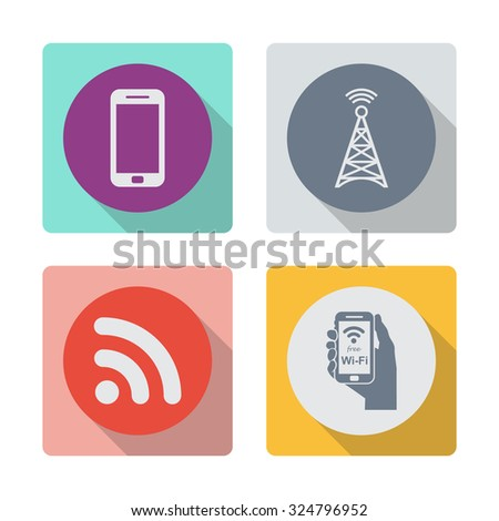 Buttons with shadow. Smartphone vector icon. Cell phone tower vector icon. Wireless vector icon. Free wireless sign on phone vector icon. - stock vector