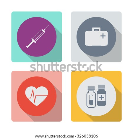 Buttons with shadow. Vector syringe icon. First aid box icon. Heart pulse beat vector icon. Pills vector icon. Medicine sign. Drugs icon. - stock vector
