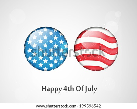 Buttons with U.S.A Flag for 4th of July - stock vector