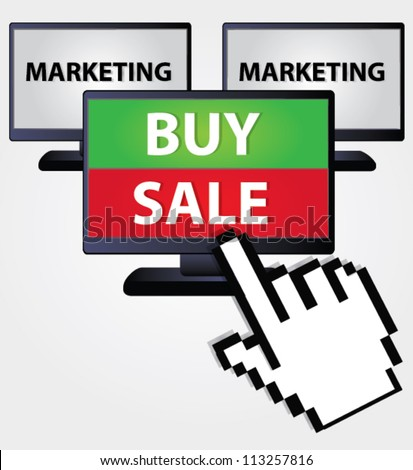 Buy and sale ,computer click,internet,Vector - stock vector