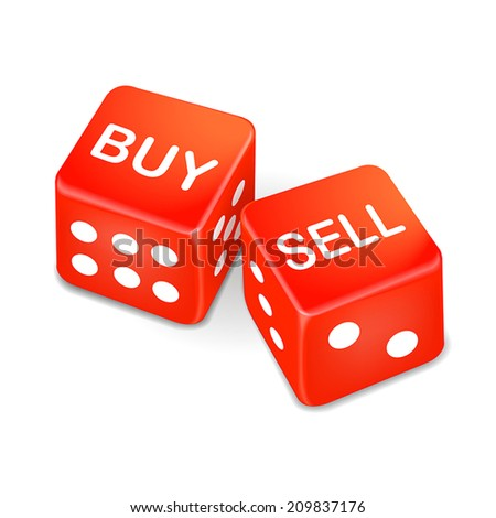 buy and sell words on two red dice isolated on white background - stock vector