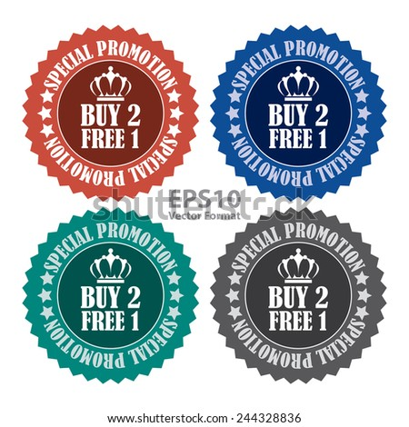buy 2 free 1 special promotion promotional sale icon, tag, label, badge, sign, sticker isolated on white, vector format - stock vector