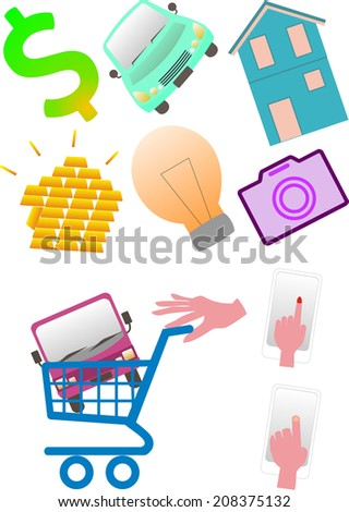 Buy luxury items over the internet and put them in a trolley - stock vector