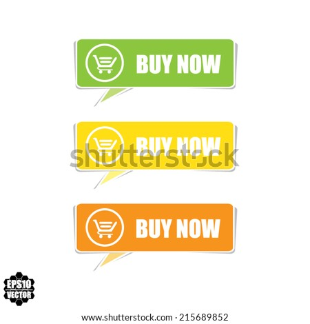 Buy now colorful button template and Set of modern e-commerce buttons and icons. Vector. - stock vector