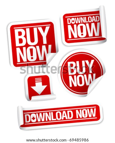 Buy Now, Download Now online store stickers set. - stock vector