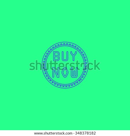 Buy Now Simple outline vector icon on green background