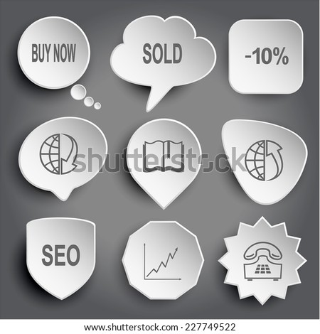 buy now, sold, -10%, globe and arrow down, book, globe and array up, seo, diagram, push-button telephone. White vector buttons on gray. - stock vector